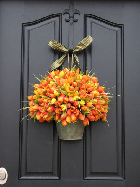 spring door wreath spring tulipsfloral wall pockets spring flower buckets