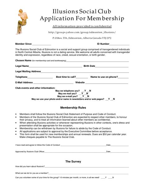 social club membership application form template best photos of club application form template club