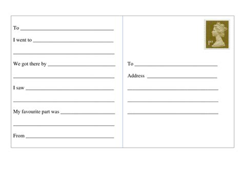 card template ks2 descriptive fictional postcard writing by amyparkin