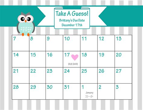 search results for baby due date calendar template