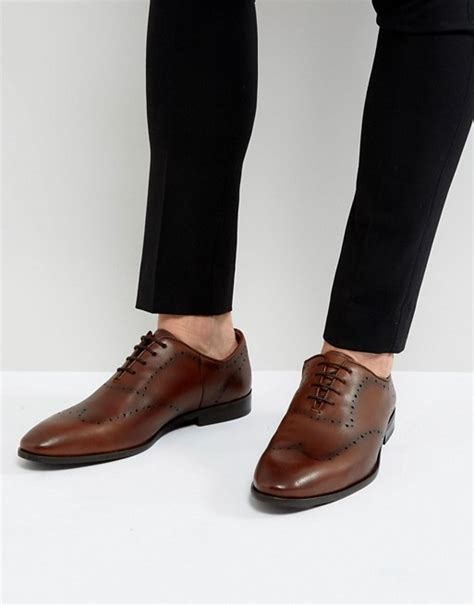 new look new look leather brogue shoes in brown