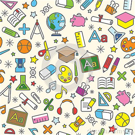 background wallpaper education icon colorful seamless pattern background of school and