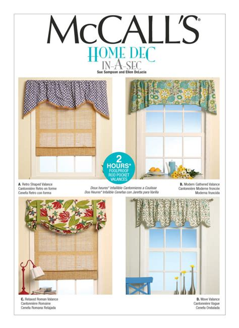 mccalls curtain patterns sewing pattern for four window valances patterns mccall s