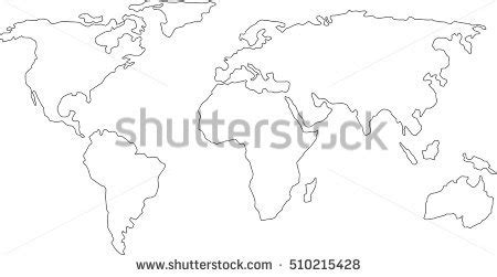 Worlds Collide Europe Africa And America Outline by Best Popular World Map Outline Graphic Stock Vector 510215428