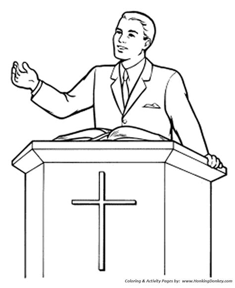 Pastor Coloring Page church coloring pages preacher in the pulpit sunday