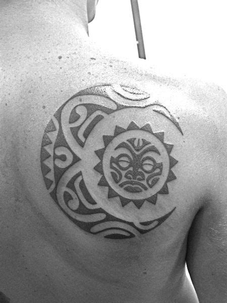 tribal moon and sun tattoos sun moon tribal