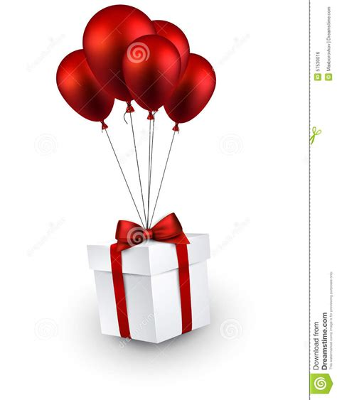 Red Balloon Gift Card - gift box on red balloons stock vector image 57530016