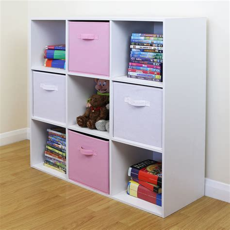 Pink Bookcases 9 Cube Kids Pink Amp White Toy Games Storage Unit Girls Boys