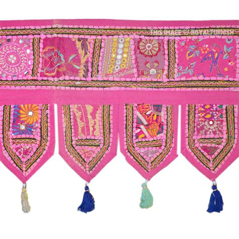 Pink Patchwork Curtains - large pink patchwork embroidered toran windows door