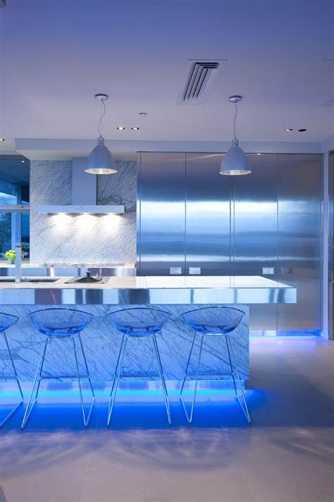 Blue Led Kitchen Lights 17 Light Filled Modern Kitchens By Mal Corboy