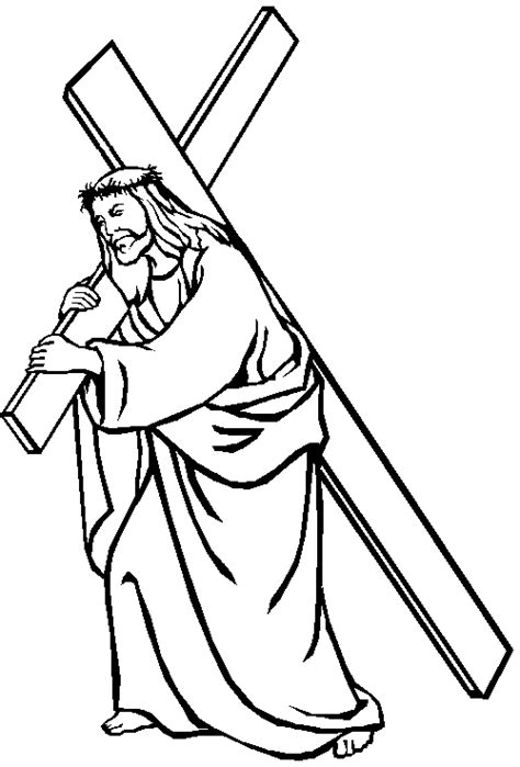 Coloring Pages Of Jesus Carrying The Cross | jesus carrying his cross coloring page