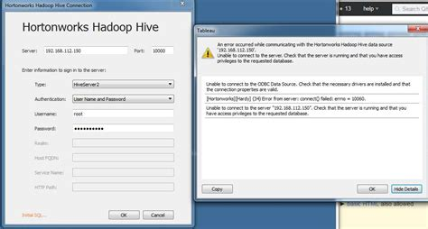 tableau hive tutorial hadoop how to connect to hive server on vmware from