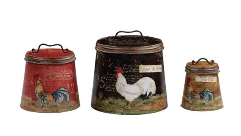 terrific shabby country chic rooster tin canister set home the loacker shabby country chic rooster tin canister set