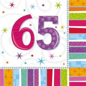 65th birthday napkins in packs of 16 wizard