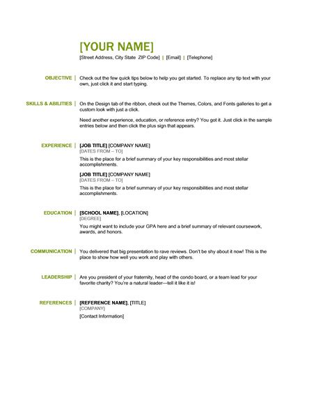 resume skills and abilities exle microsoft office 365 sle resume templates june 2013