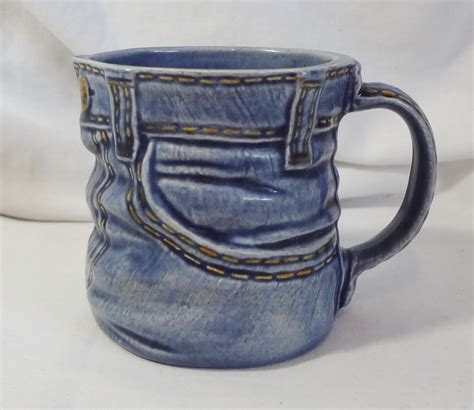 blue jean ceramic coffee cup mug handcrafted denim look 1