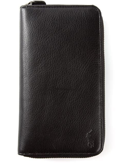 Polo Wallet For polo ralph zip around wallet in black for lyst