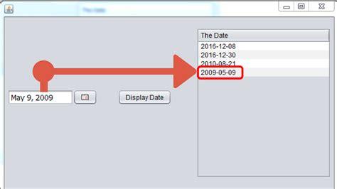 java program for displaying pattern display date in jtable from jdatechooser in java c
