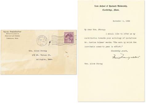 Harvard College Letterhead Typed Letter Signed On Harvard School Letterhead November 5 Felix Frankfurter
