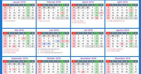 Kalender 2018 Plus Libur Nasional Kalender Indonesia 2018