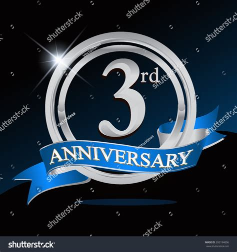 3rd anniversary images 3rd anniversary logo blue ribbon silver stock vector 392194096