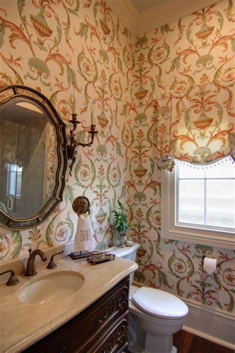 guest bathroom  arabesque wallpaper traditional