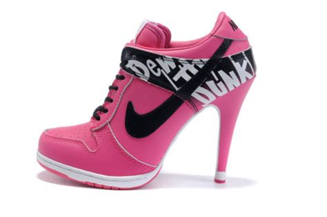 pink and white high heels shoes high heels nike pink white wheretoget