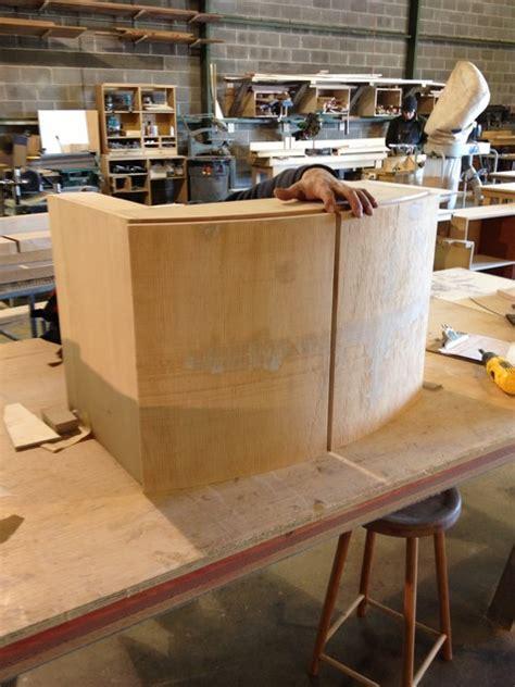curved front walnut veneer vanity cabinet contemporary