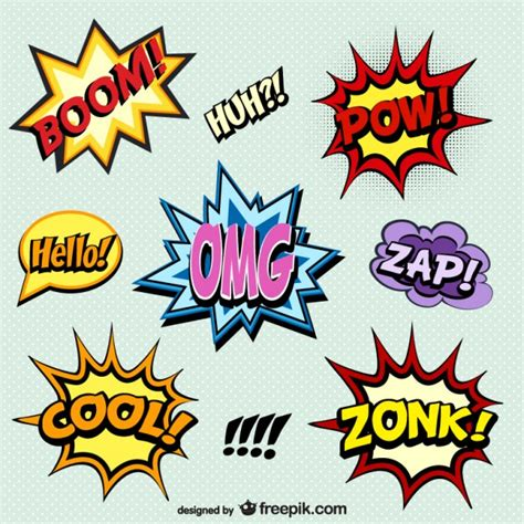 comic book words onomatopoeia vector free