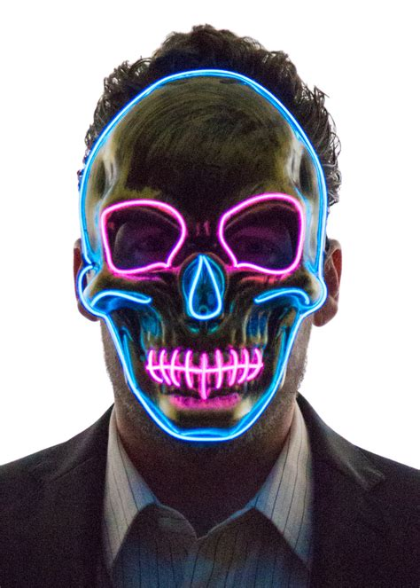 light up face mask glowing skull face mask neon nightlife