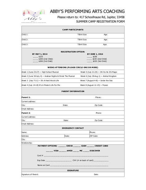 2014 summer c registration form