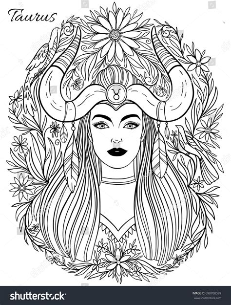 zodiac sign taurus woman hand drawn stock vector 698708599