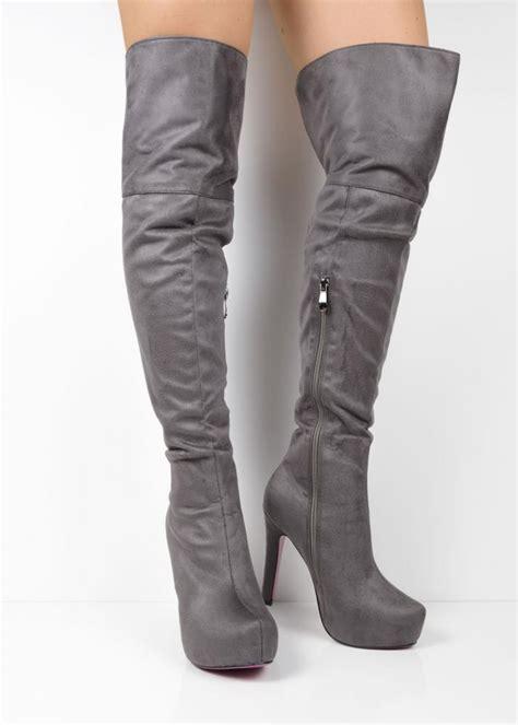 98833 grey suede platform the knee boots