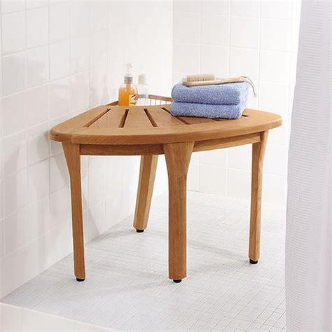 Corner Bath Stool by Teak Corner Bath Stool At Brookstone Buy Now