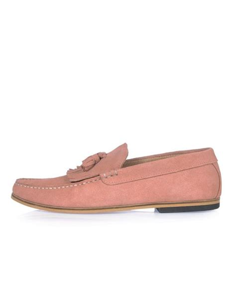 river island loafer river island pink suede tassel loafers in pink lyst