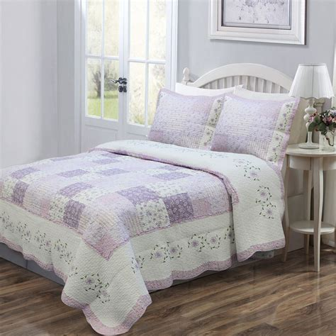 feminine lilac lavender floral girls bedding twin full