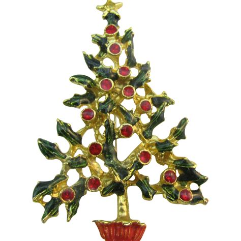 vintage christmas tree pin all holly with berries from