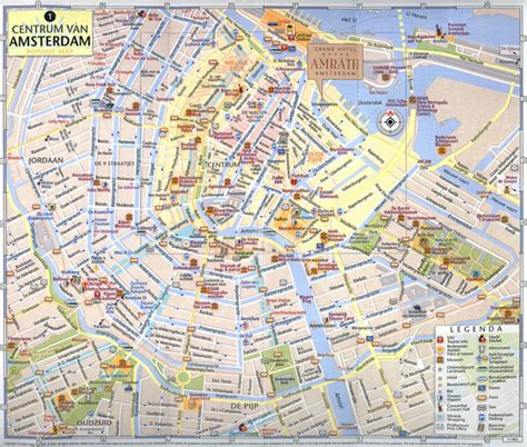 tourist map of central large tourist map of central part of amsterdam city
