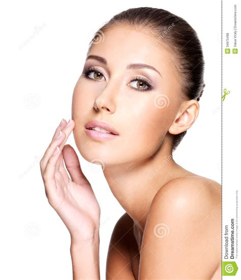 Pura Femme of beautiful with healthy skin stock photo