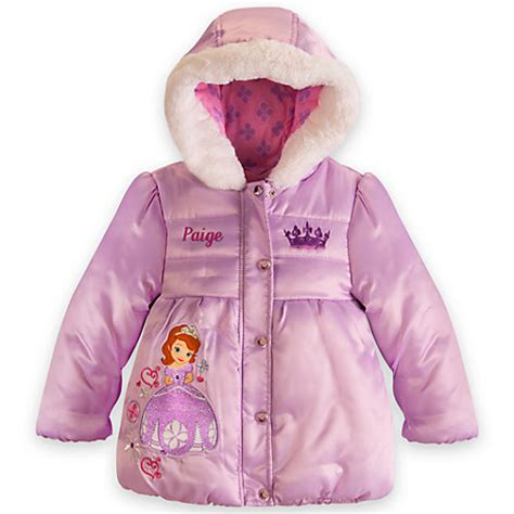 sofia the princess puff jacket white fur trim nwt disney store junior ebay