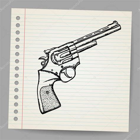 doodle draw revolver drawing in doodle style stock vector 169 w1ndkh