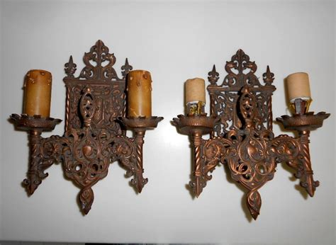 Gargoyle Wall Sconce Pair Antique Moe Bridges Patina Bronze Wall Sconce Birds Gargoyle