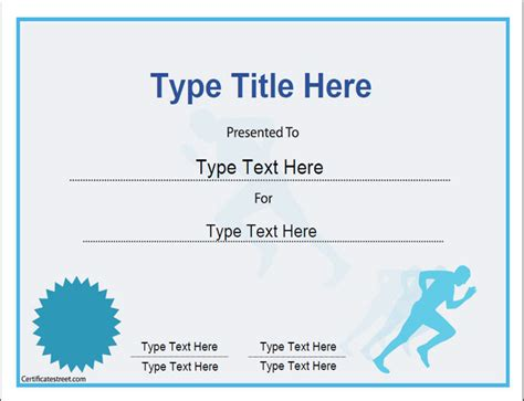 run certificate template sports certificates certificate template for achievement