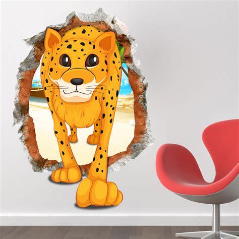 cute tiger leopard waterproof wall sticker home decor 3d baby kid room cartoon lovely cute leopard wall decals
