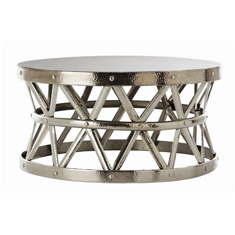 Hammered Coffee Table hammered drum cross silver coffee table