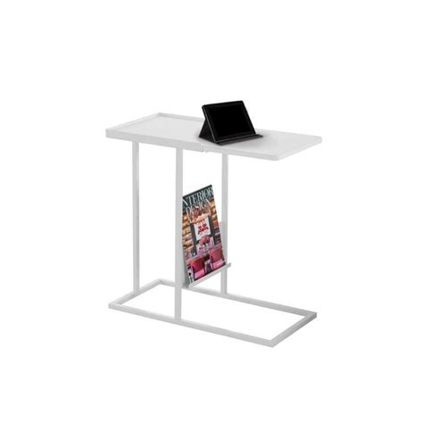 side table with l and magazine rack metal side table with magazine rack in white i 3098