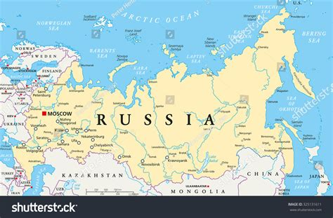 russian capital cities map russia political map capital moscow national stock vector
