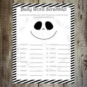 baby shower word scramble the nightmare before