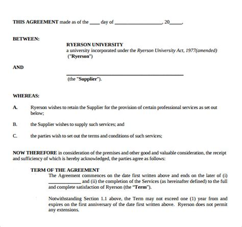 professional services agreement template free sle professional services agreement 11 free in pdf word