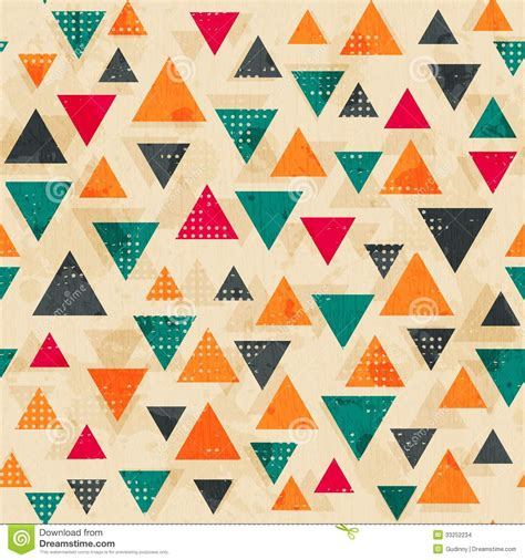 triangle retro pattern vintage colored triangle pattern with grunge effect stock